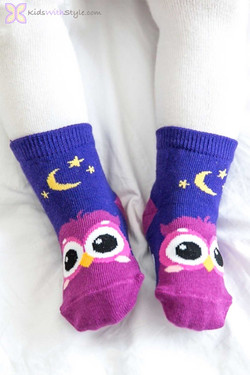 Children's Purple Owl Socks