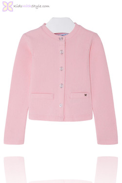 Girls Classic Pink Knitted Cardigan