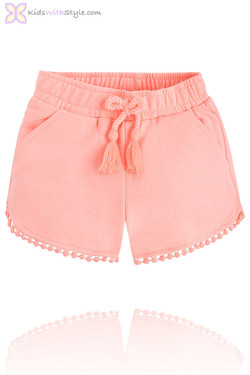 Girls Peach Fleece Summer Shorts