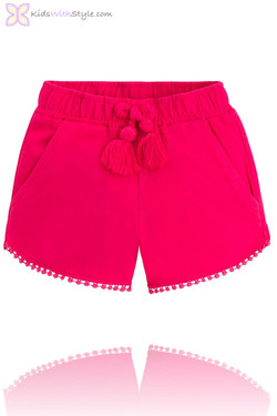 Girls Fuchsia Fleece Summer Shorts