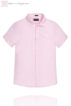 Boys Luxury Linen Short Sleeved Pink Shirt