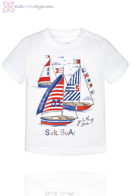 Baby Boy Sail Boat T-Shirt in White