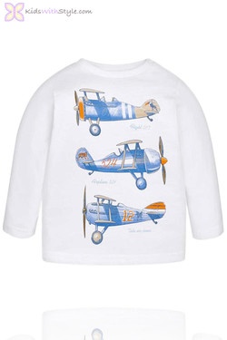 Baby Boy Long Sleeve Airplane T-Shirt in White