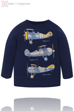 Baby Boy Long Sleeve Airplane T-Shirt in Navy