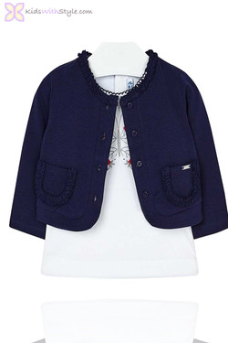 Baby Girl Cardigan & Butterfly Blouse Set in Navy