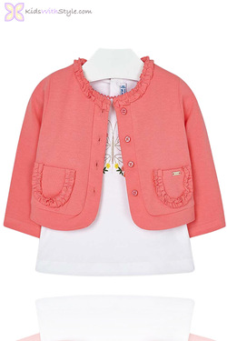 Baby Girl Cardigan & Butterfly Blouse Set in Pink