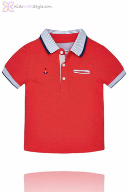 Baby Boy Nautical Polo in Red