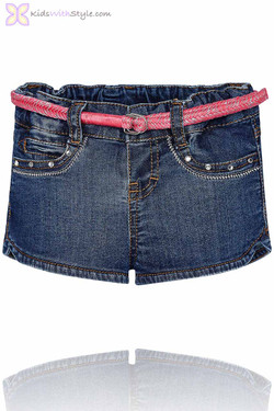 Baby Girl Classic Denim Shorts & Pink Braided Belt