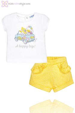 Baby Girl Frilly Shorts & Graphic Happy Trip Blouse Set