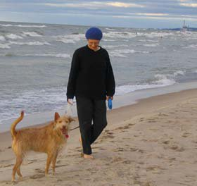 walking on the beach with our angel dog, rosa