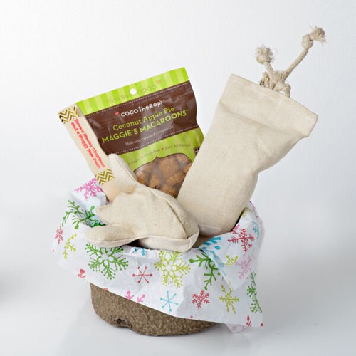 Holiday Gift Basket for Dogs.  Santa Sized!  Made in the USA.  Purrfectplay.com