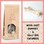 Holiday gift bag for cats filled with amazing catnip toys and natural chase balls.  Organic cat toys made in USA. purrfectplay.com