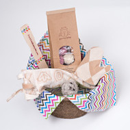 Easter/Spring gift basket for cats. Filled with organic natural cat toys made in the USA.  Feel the love!