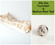 Spring/Easter gift bag for cats.  Includes silly catnip sea cucumber and medium wool ball.  100% organic and made in the USA.