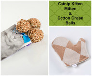 Spring/Easter gift bag for cats.Includes our popular Kitten Mitten catnip toy and our cotton chase balls.   100% organic and made in the USA. Vegan Friendly.