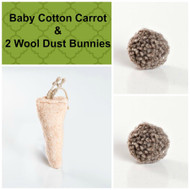 Sweet little gift for kitties.  Organic wool chase balls and a lovely cotton carrot.  Made with love in the USA.  Purrfectplay.com