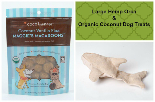 Spring gift bag for Dogs.  Hemp dog toy and gluten free natural dog treats. Made in the USA. Purrfectplay.com