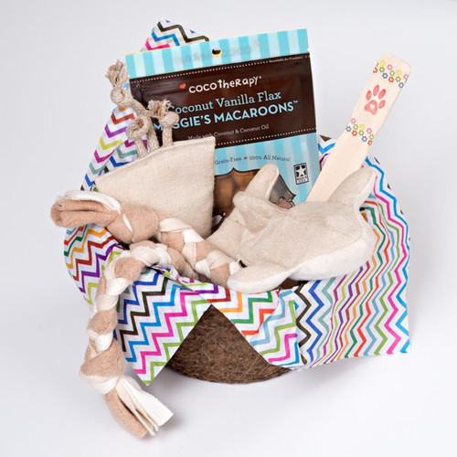 Gift basket for small dogs.  Organic dog toys, made in the USA.  Purrfectplay.com