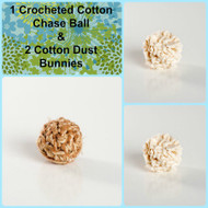 Sweet little gift for kitties.  Organic cotton chase balls.  Made with love in the USA.  Purrfectplay.com