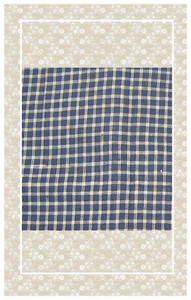 Navy and white Victorian checked cotton