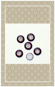 Antique brown rimmed glass doll scaled buttons