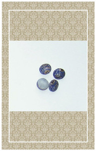 Painted blue glass buttons in tiny doll scale