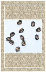 Antique doll scaled enameled brass buttons