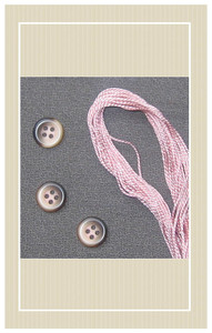 Wool crepe with pink trim doll sized sewing kit