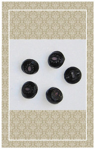 Early vintage doll scaled black and lavender glass buttons