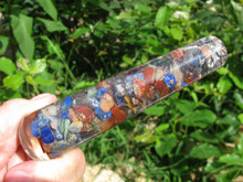 "Chakra Orgonite Wand, Mixed Chakra Stones, 4.5"" Long"