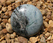 ROUND BLUE GREEN KYANITE ~ POLISHED DISK~PALM SIZE~REMOVES BLOCKS 2295