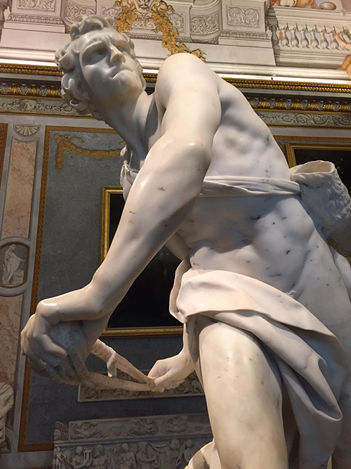 David, 1623-24, a marble sculpture by Gian Lorenzo Bernini at the Galleria Borghese, Rome, Italy—Happy Easter from The Flower Lady, Milwaukee Florist!