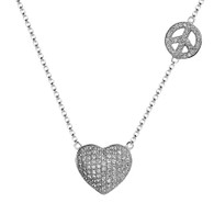 Heart shaped Silver Pendant- CZ - 0.925 - PW051