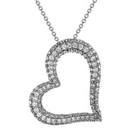 Heart Shaped Silver Pendant- CZ - 0.925 - PW021