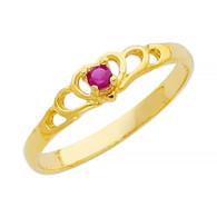 Yellow Gold Ring - CZ - 14 K - RG347