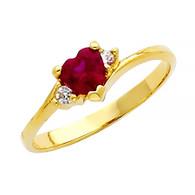 Yellow Gold Ring - CZ - 14 K - RG389