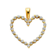 Yellow Gold Pendant - 14 K - CZ - PT584