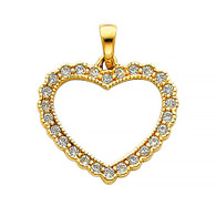 Yellow Gold Pendant - 14 K - CZ - PT581