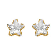 Yellow Gold stud earrings, decorated with CZ. - GE5