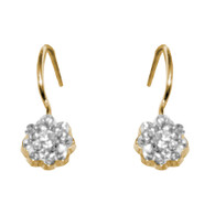 Gold Earrings with CZ - 14 K - 826601