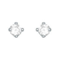 Yellow Gold stud earrings, decorated with CZ. 18 K - 77702