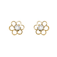 Yellow Gold stud earrings, decorated with CZ. - 759501