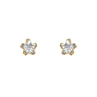 Yellow Gold stud earrings, decorated with CZ. - GE4