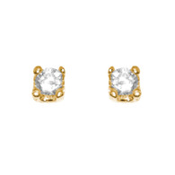 Yellow Gold stud earrings, decorated with CZ. - 77401