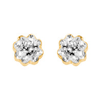 Yellow Gold stud earrings, decorated with CZ. - 827201