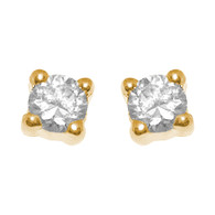Yellow Gold stud earrings, decorated with CZ. | 14K - 628201