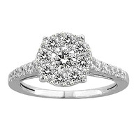 White Gold Engagement Ring with Diamonds - 59079