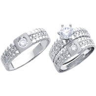 White Gold Trio Set cz - 14 K - TC185