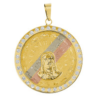 Yellow Gold Wedding Medal with CZ - 14 K - WRP021