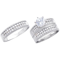 White Gold Trio Set CZ - 14 K - TC231